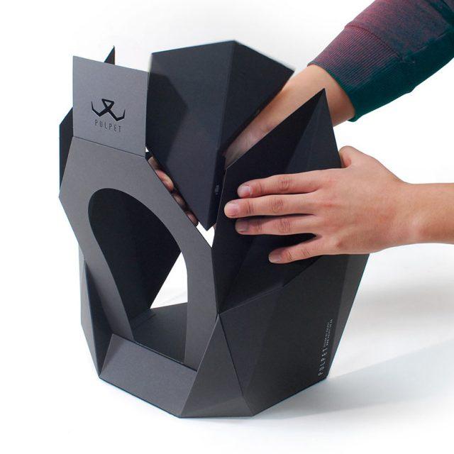 Pulpet - Une maison en papier pour chat ressemble à une belle et élégante sculpture 1