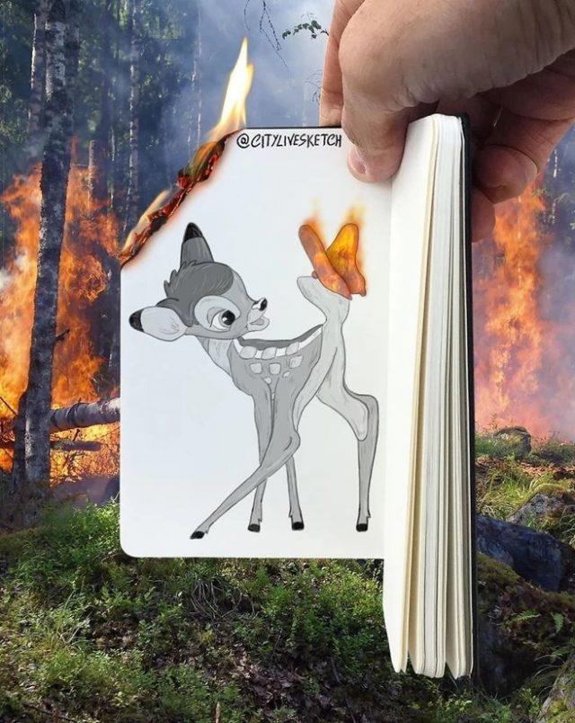 Feux de forêt contre Bambi
