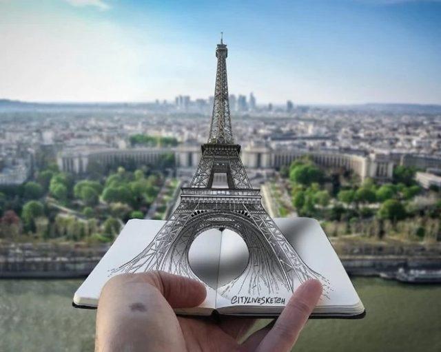 Pietro Cataudella et la Tour Eiffel