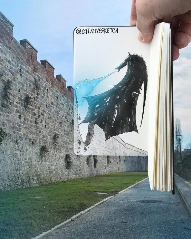 Un dragon sur les remparts de la ville